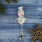 """Мягкая подвеска """"Снеговик - ножки бубенчники 12 см белый"""
