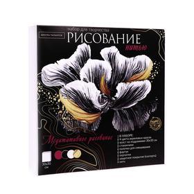 Рисование нитью на холсте «Цветок», 30х30 см