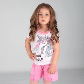 Пижама для девочки, цвет белый/розовый принт единорог, рост 104 см (36)