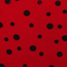 Велюр, на красном фоне чёрные божьи коровки, ширина 180 см