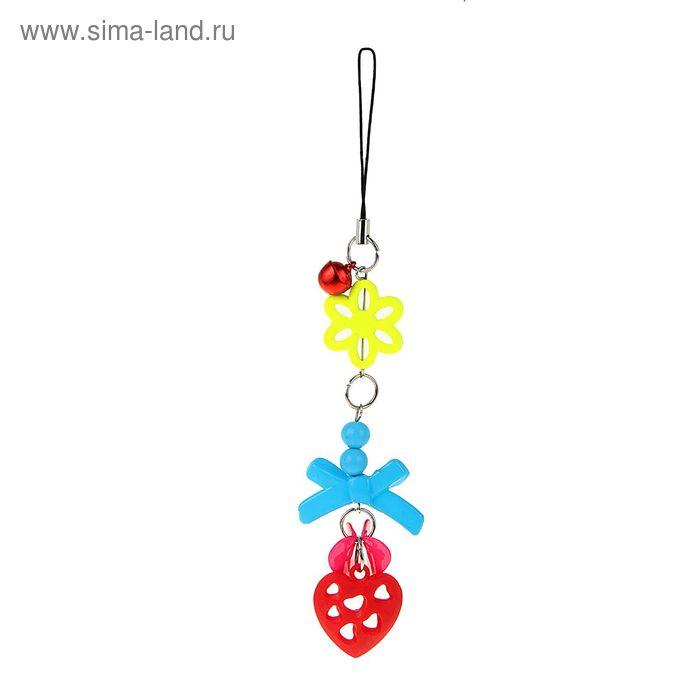 """Подвеска для телефона """"Сердце с цветком"""", цвета МИКС"""