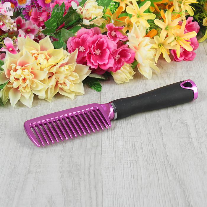 Расчёска с прорезиненной ручкой, цвет сиреневый
