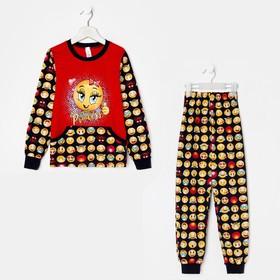 Костюм детский (лонгслив, брюки), цвет красный, размер 32