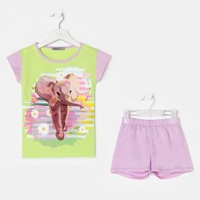 Костюм детский (футболка, шорты), цвет салатовый, размер 30