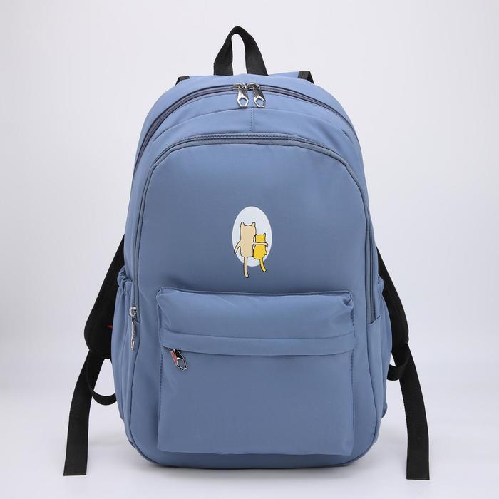 Рюкзак, 2 отдела на молниях, наружный карман, 2 боковых кармана, цвет голубой - фото 861046