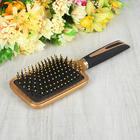 Расчёска массажная с прорезиненной ручкой, широкая, цвет золотистый