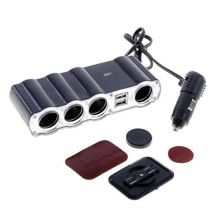 Разветвитель прикуривателя WF-4008, на проводе, 4 выхода + 2 USB, чёрный