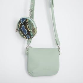 Кросс-боди, отдел на молнии, 2 наружных кармана, анималистичный принт, цвет мятный