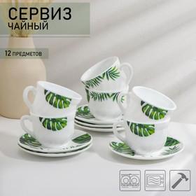 Сервиз чайный Доляна «Лист папоротника»,12 предметов: чашка 200 мл, блюдце d=14 см