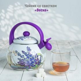 Чайник со свистком Доляна «Весна», 2,2 л, фиксированная ручка, цвет фиолетовый