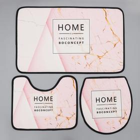 Набор ковриков для ванны и туалета Доляна Home, 3 шт: 50×80, 45×50, 38×43 см, цвет розовый
