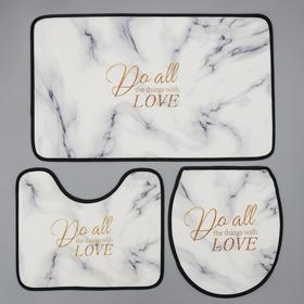 Набор ковриков для ванны и туалета Доляна «Мрамор», 3 шт: 50×80, 45×50, 38×43 см, цвет белый