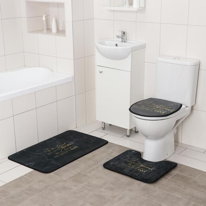 Набор ковриков для ванны и туалета Доляна «Мрамор», 3 шт: 50×80, 45×50, 38×43 см, цвет тёмно-серый