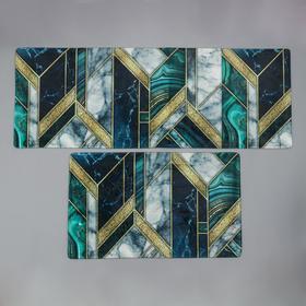 Набор ковриков для ванны и туалета Доляна «Малахит», 45×120 см
