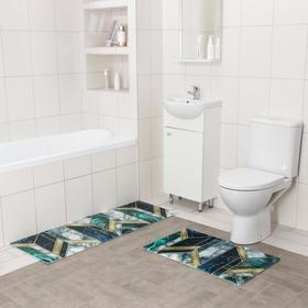 Набор ковриков для ванны и туалета Доляна «Малахит», 2 шт: 45×120, 45×75 см