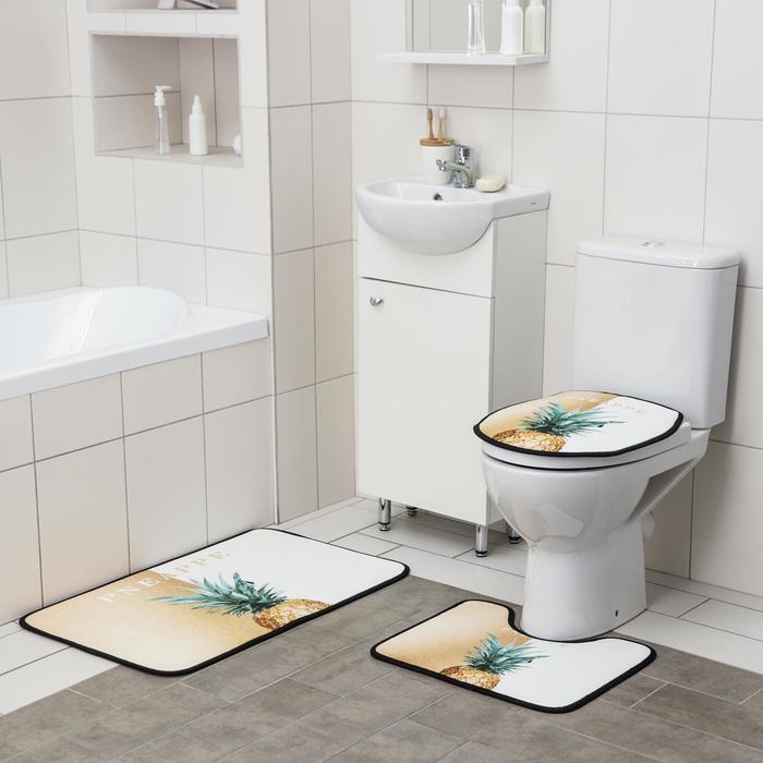 Набор ковриков для ванны и туалета Доляна «Ананас», 3 шт: 50×80, 45×50, 38×43 см