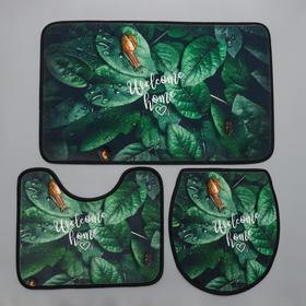 Набор ковриков для ванны и туалета Доляна «Тропики», 3 шт: 50×80, 45×50, 38×43 см
