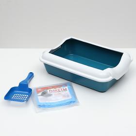 Набор: туалет с бортом 40х10см; совок; биоразлагаемые пакеты, 10 шт, голубой