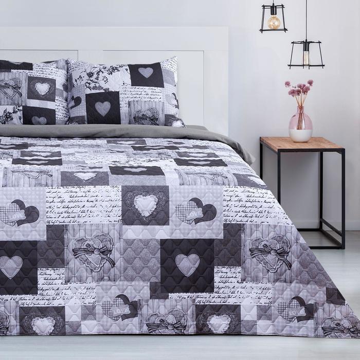 """Комплект """"Этель"""" Grey heart, покрывало 180х220  ±5 см и наволочки 50х70 - 2 шт, микрофибра - фото 861772"""