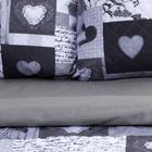 """Комплект """"Этель"""" Grey heart, покрывало 180х220  ±5 см и наволочки 50х70 - 2 шт, микрофибра - фото 861773"""