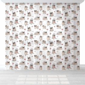 """Комплект тюлей """"Этель"""" Lovely dogs, 145*260 см-2 шт, вуаль"""