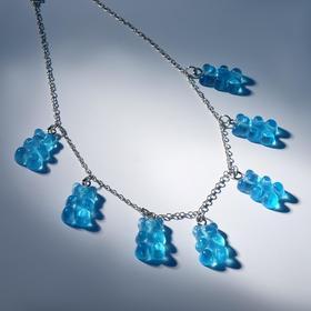 """Колье """"Мармеладные мишки"""" на тонкой цепочке, цвет голубой в серебре, 35см"""