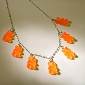 """Колье """"Мармеладные мишки"""" на тонкой цепочке, цвет оранжевый в серебре, 35см"""
