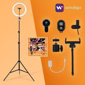 Набор Юного Блогера Windigo KIDS CB-97, кольцевая лампа, штатив, микрофон, пульт, линзы