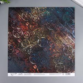 """Бумага для скрапбукинга Mr.Painter """"Механическое сердце 2"""" 30,5x30,5 см, 190 гр/м2"""