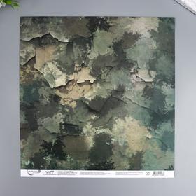 """Бумага для скрапбукинга Mr.Painter """"Вокруг меня Хаки 4"""" 30,5x30,5 см, 190 гр/м2"""