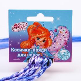 Косички для волос на резинке, голубой, WINX