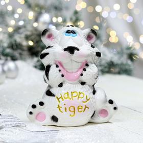 "Копилка ""Тигр счастливый"", белый, керамика"