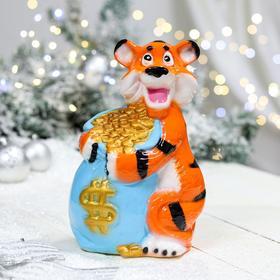 "Копилка ""Тигр с мешком"", оранжевый, керамика, микс"