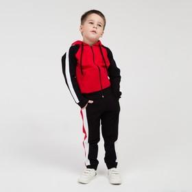 Костюм детский, цвет красный/белый/чёрный, рост 104 см