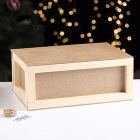 """Подарочная коробка """"Бандероль"""" деревянная 30×21×12,5 см"""
