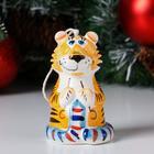 """Колокольчик фарфоровый """"Тигра с шарфом"""", 10 см - фото 282128598"""