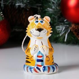 """Колокольчик фарфоровый """"Тигра с шарфом"""", 10 см"""