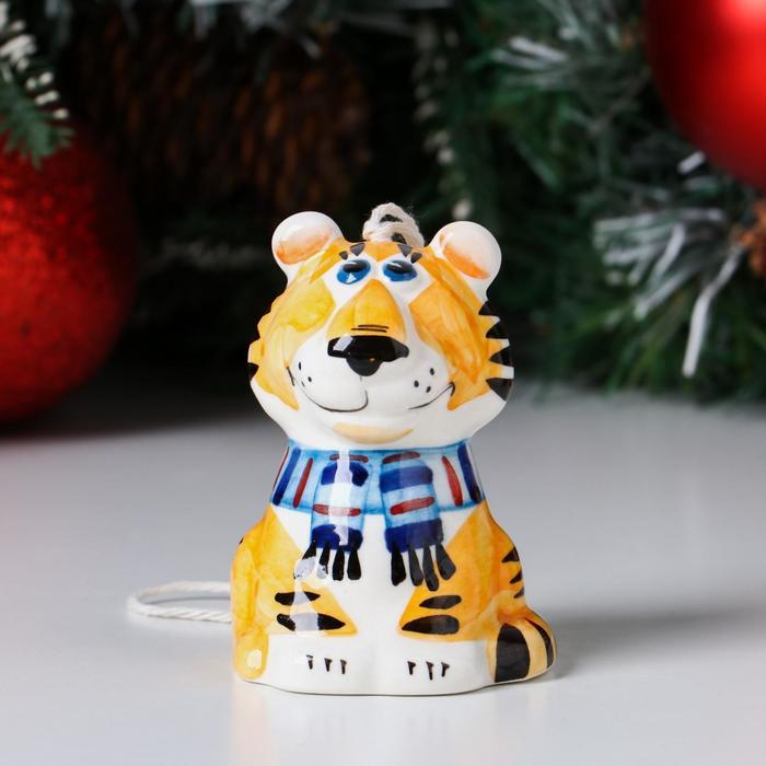 """Колокольчик фарфоровый """"Тигр"""", 8 см - фото 282128602"""
