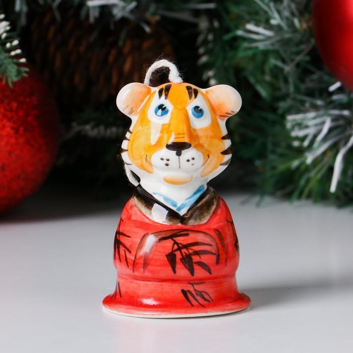 """Колокольчик фарфоровый """"Тигр Япон"""", 9 см - фото 282128606"""