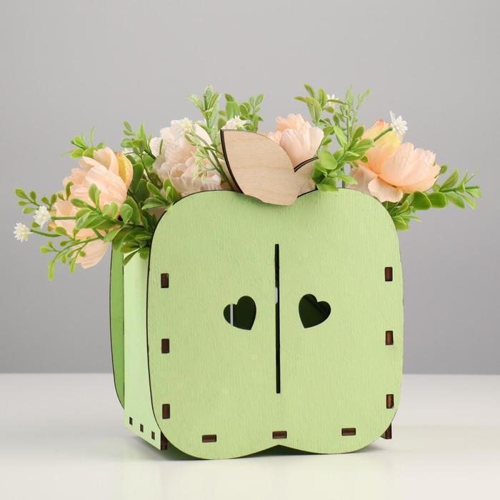 """Кашпо деревянное для цветов """"Яблоко"""", зеленый чай, 15,4х10,8х18,9 см - фото 282128703"""