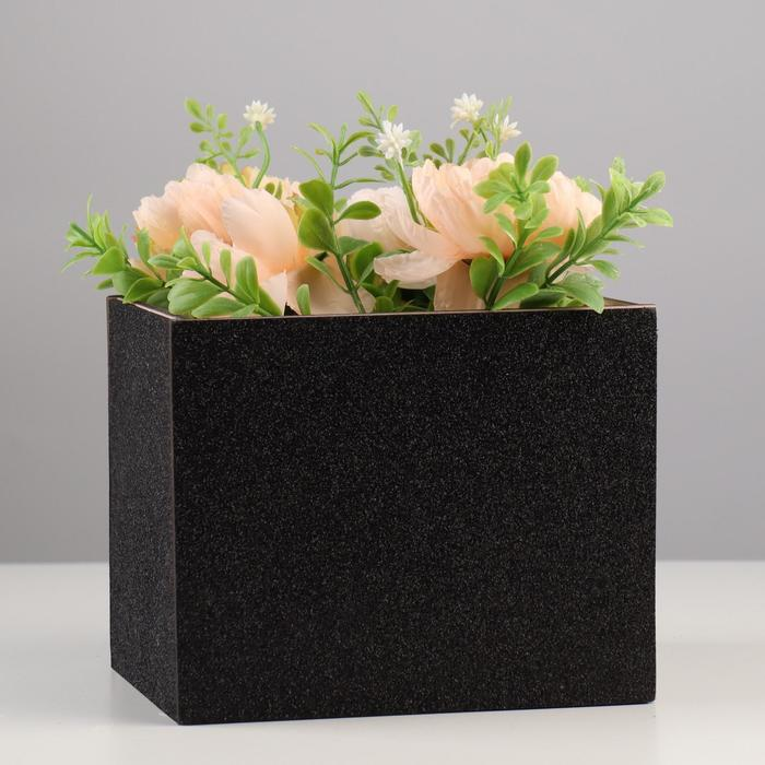 Кашпо деревянное для цветов и подарков с аппликацией, пудрово-черное, 15,6х14,2х12,8 см - фото 282128742