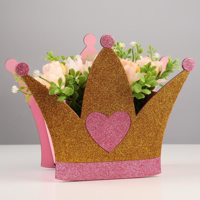 "Кашпо деревянное ""Корона"" блестящее, розово-золотое,25,2х11,8х20 см - фото 282128775"