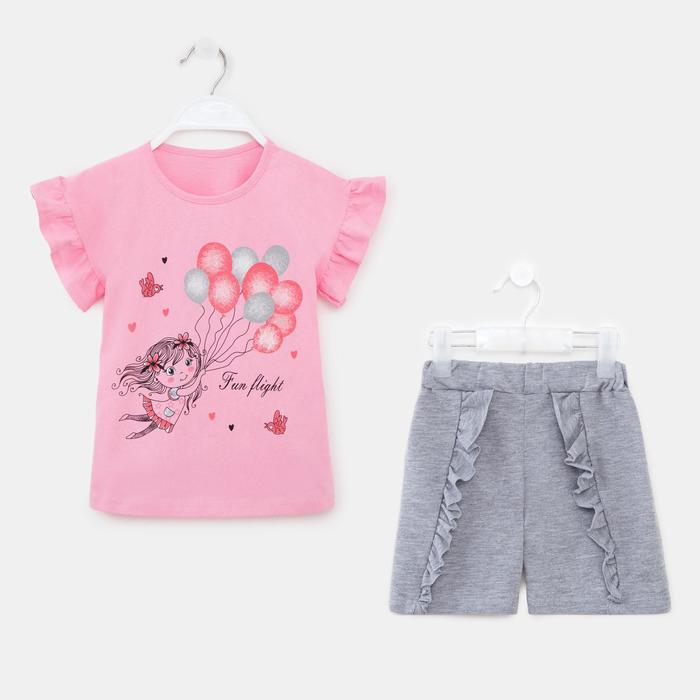Комплект для девочки, цвет розовый, рост 110 см - фото 282129201