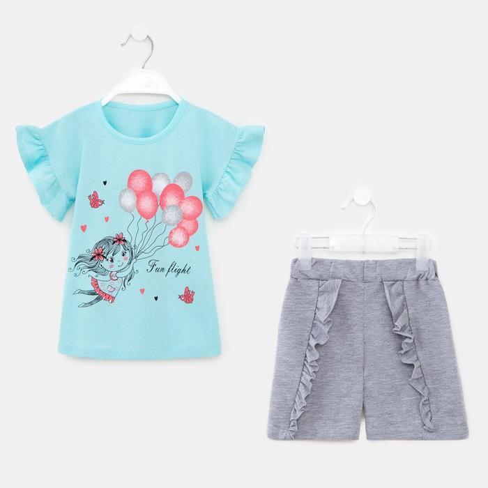 Комплект для девочки, цвет голубой, рост 98 см - фото 282129209