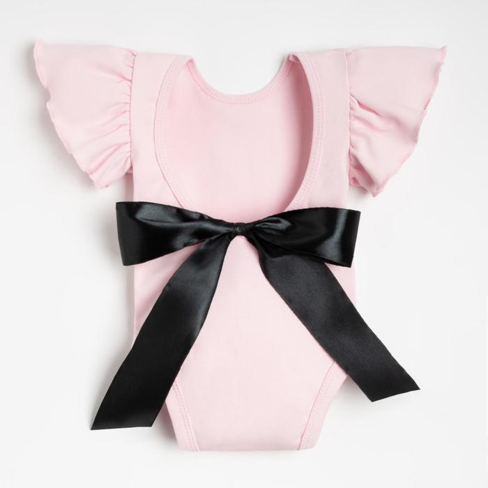 """Боди Крошка Я """"Чёрный бант"""", розовый, р.22, рост 62-68 - фото 282129389"""