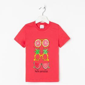 Футболка для девочки, цвет красный, рост 104-110 см