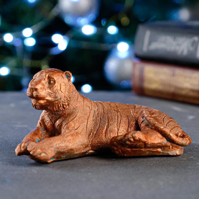 """Статуэтка """"Тигр лежит"""" окисленная медь, 6х12см - фото 282129732"""