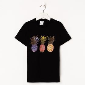 Футболка для девочки, цвет чёрный/ананасы, рост 128-134 см