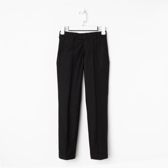 Школьные брюки для мальчика, цвет черный, рост 140 см (32) - фото 282129954