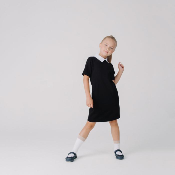 Платье «Лира» для девочки, цвет черный, рост 128 см - фото 282130031